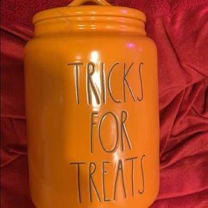 Rae Dunn tricks for treats pet canister Halloween